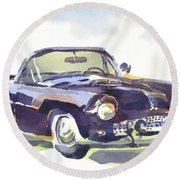 1955 Thunderbird Round Beach Towel