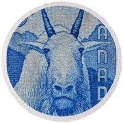 1956 Canada Mountain Goat Stamp Round Beach Towel