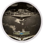 1956 Chevrolet Rust Bucket Sepia Toned Round Beach Towel