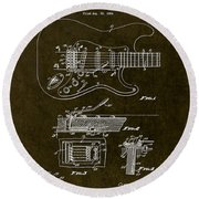 1956 Fender Tremolo Patent Drawing II Round Beach Towel