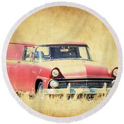 1956 Ford Sedan Delivery Round Beach Towel