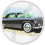 1956 Ford Thunderbird  Black  Classic Vintage Sports Car Art Sketch Rendering         Round Beach Towel