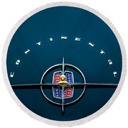 1956 Lincoln Continental Mark II Coupe Emblem Round Beach Towel
