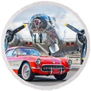 1957 Chevrolet Corvette Round Beach Towel