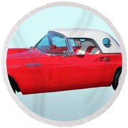 Vehicles Round Beach Towel featuring the photograph 1957 Ford Thunderbird  by Aaron Berg