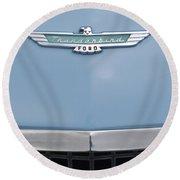 1957 Ford Thunderbird Hood Ornament 2 Round Beach Towel