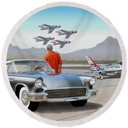 1957 Thunderbird  With F-84 Gunmetal Vintage Ford Classic Art Sketch Rendering           Round Beach Towel