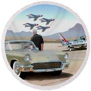 1957 Thunderbird  With F-84 Thunderbirds Inca Vintage Ford Classic Art Sketch Rendering            Round Beach Towel