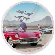 1957 Thunderbird  With F-84 Thunderbirds  Red  Classic Ford Vintage Art Sketch Rendering         Round Beach Towel