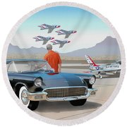 1957 Thunderbird  With F-84 Thunderbirds Vintage Ford Classic Car Art Sketch Rendering          Round Beach Towel