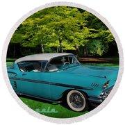1958 Chev Impala Round Beach Towel