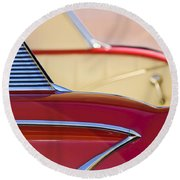 Round Beach Towel featuring the photograph 1958 Chevrolet Belair Abstract by Jill Reger