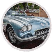 1958 Chevy Corvette Painted Round Beach Towel