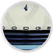 1958 Dodge Sweptside Truck Grille Round Beach Towel by Jill Reger
