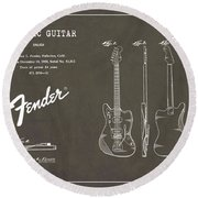 1958 Fender Electric Guitar Patent Art 2 Round Beach Towel