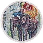 1958 Laos Elephant Stamp Round Beach Towel
