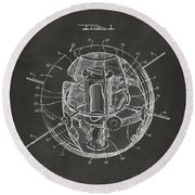 1958 Space Satellite Structure Patent Gray Round Beach Towel