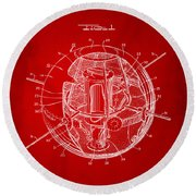 1958 Space Satellite Structure Patent Red Round Beach Towel