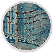 1958 The Mighty Mac Stamp Round Beach Towel