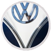 1958 Volkswagen Vw Bus Emblem Round Beach Towel