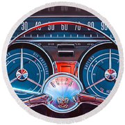 1959 Buick Lesabre Steering Wheel Round Beach Towel