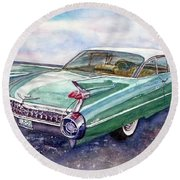 Round Beach Towel featuring the painting 1959 Cadillac Cruising by Anna Ruzsan