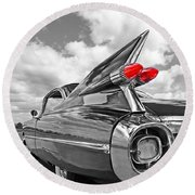1959 Cadillac Tail Fins Round Beach Towel by Gill Billington