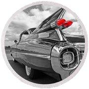1959 Cadillac Tail Fins Round Beach Towel