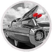 1959 Cadillac Tail Fins Round Beach Towel