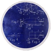 1959 Fish Lure Patent Drawing Blue Round Beach Towel