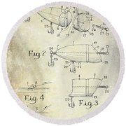 1959 Fish Lure Patent Drawing  Round Beach Towel