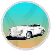 1959 Porsche Speedster Round Beach Towel by Jack Pumphrey