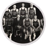 1959 University Of Michigan Basketball Team Photo Round Beach Towel by Mountain Dreams