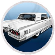 1960 Ford Thunderbird Round Beach Towel