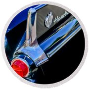 1960 Studebaker Hawk Coupe Taillights And Emblem Round Beach Towel
