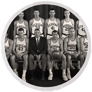 1960 University Of Michigan Basketball Team Photo Round Beach Towel by Mountain Dreams