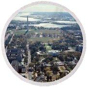 1960s Aerial View Washington Monument Round Beach Towel