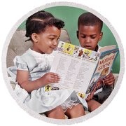 1960s African American Boy And Girl Round Beach Towel