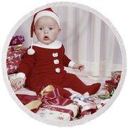 1960s Amazed Baby In Santa Suit Sitting Round Beach Towel