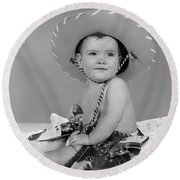 1960s Baby Girl Wearing Cowboy Hat Toy Round Beach Towel