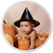 1960s Baby In Witch Hat Crawlilng Round Beach Towel