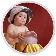 1960s Baby With Fortune Teller Turban Round Beach Towel