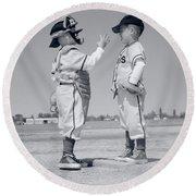 1960s Boy Little Leaguer Pitcher Round Beach Towel