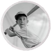 1960s Boy Playing Baseball Holding Bat Round Beach Towel