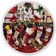 1960s Five Christmas Stockings Hanging Round Beach Towel