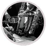 1960s Hands Of Anonymous Jazz Combo Round Beach Towel