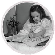 1960s Little Girl Patient In Hospital Round Beach Towel