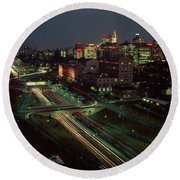 1960s Night View Vine Street Expressway Round Beach Towel