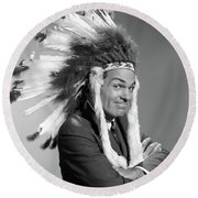 1960s Portrait Man Wearing Indian Chief Round Beach Towel
