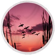 1960s Silhouetted Canada Geese Flying Round Beach Towel